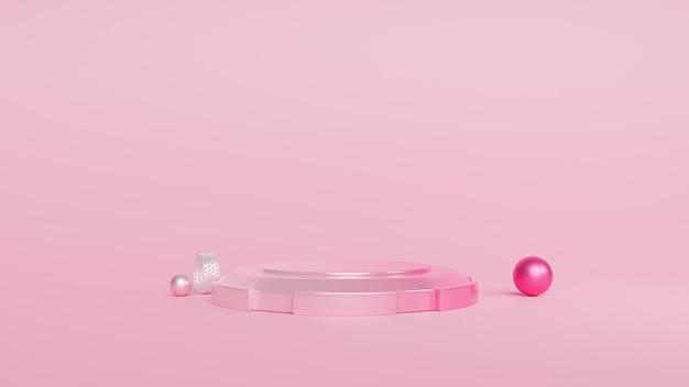Podium minimale roze en geometrische vormen. 3d-rendering Premium Foto