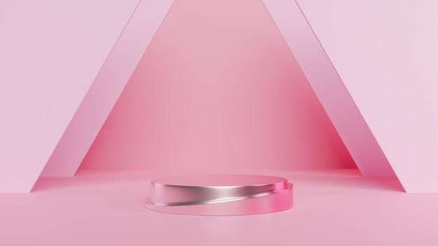 Podium minimale roze muurscène. 3d-weergave Premium Foto