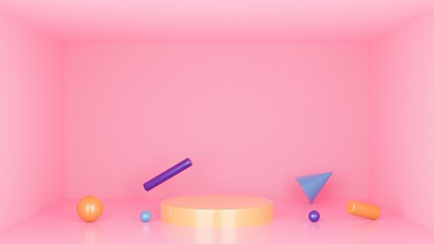 Podium minimale studio achtergrond. de abstracte 3d geometrische vormobjecten illustratie geeft terug. Premium Foto
