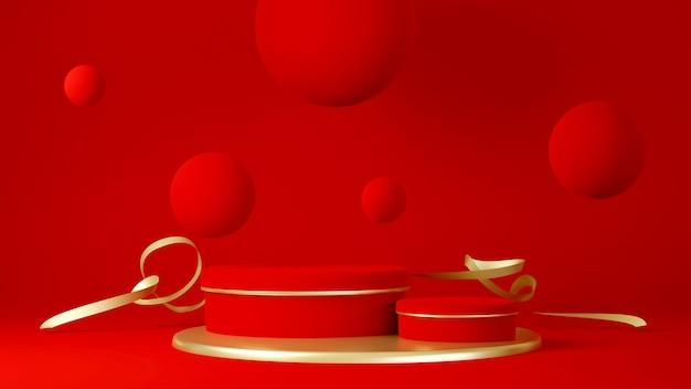 Podium, sokkel of platform, achtergrond voor de presentatie van producten. plaats voor advertenties. 3d-rendering rode fase geometrie met goud. productpresentatie leeg podium. Premium Foto