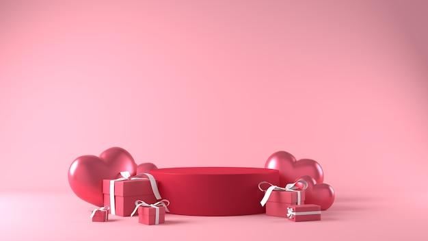 Podium voor productplaatsing op valentijnsdag met decoraties Gratis Foto