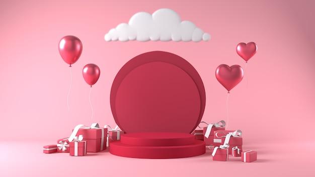 Podium voor productplaatsing op valentijnsdag met decoraties Premium Foto