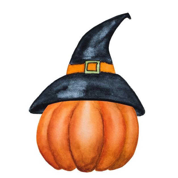 Pompoen halloween tekening aquarel geïsoleerd op wit Premium Foto