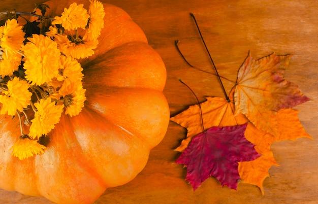 Pompoen, herfstbloemen en bladeren Premium Foto