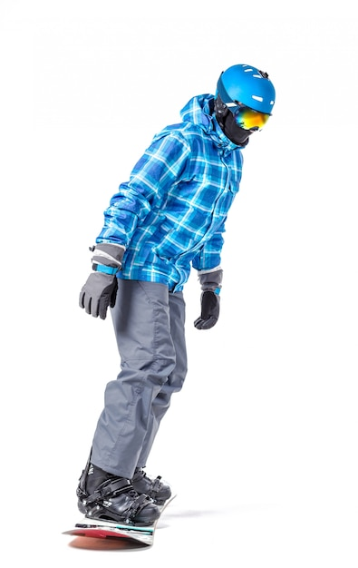 Portret van een jonge man in sportkleding met snowboard geïsoleerd op wit Premium Foto