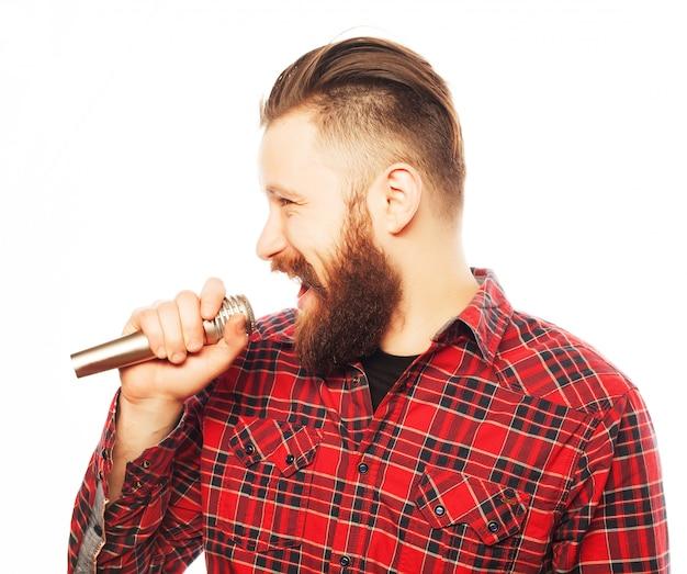 Portret van een jonge zanger Premium Foto