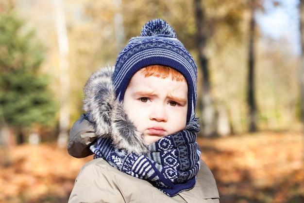 Portret van een mooi kind met een verdrietige uitdrukking op zijn gezicht. de jongen is gekleed in warme kleren, herfstseizoen. foto close-up. Premium Foto