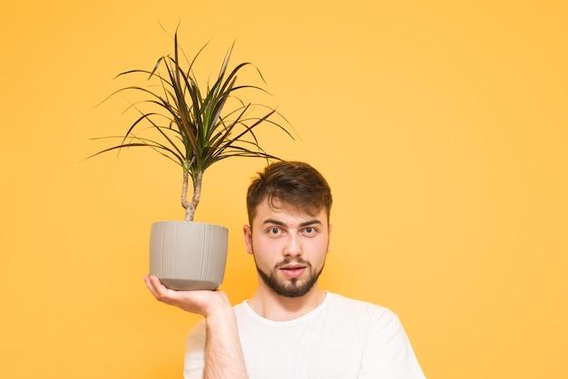 Portret van een tiener op geel houdt bloempot Premium Foto