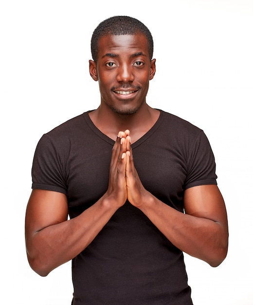 Portret van knappe jonge zwarte afrikaanse lachende man Gratis Foto