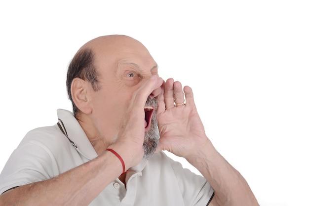 Portret van oudere man schreeuwen Premium Foto