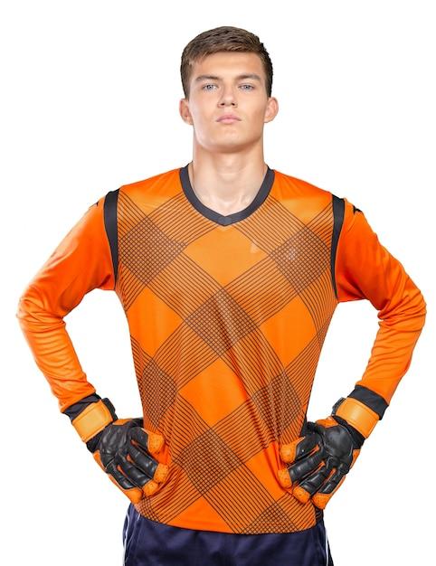 Portret van professionele voetballer Premium Foto