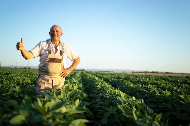Portret van senior hardwerkende boer agronoom in sojaboon veld bedrijf thumbs up controle gewassen voor oogst Gratis Foto