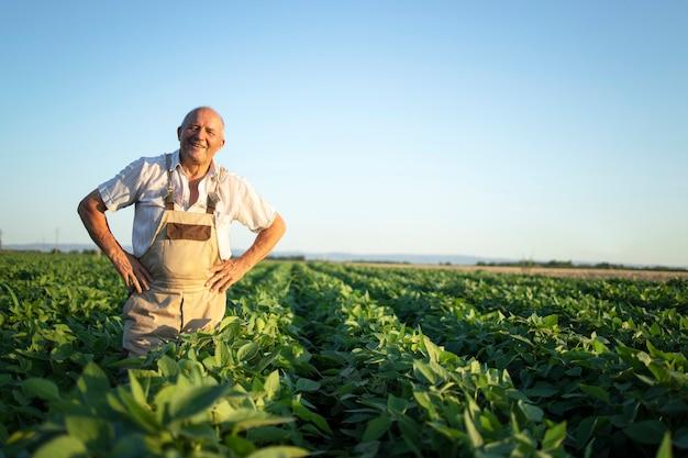 Portret van senior hardwerkende boer agronoom staande in sojaboon veld gewassen vóór oogst controleren Gratis Foto