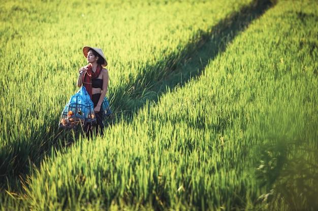 Portret van thaise jonge vrouwenlandbouwer, het platteland van thailand Premium Foto