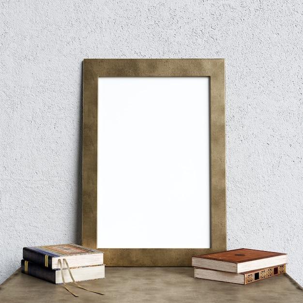 Poster mockup interieur met boeken decoratie Premium Foto