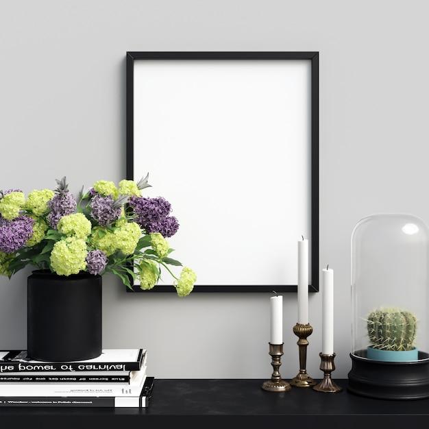 Poster mockup interieur met mooie decoraties en bloemen Premium Foto