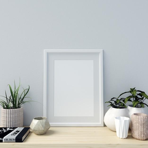 Poster mockup interieur met mooie decoraties en planten Premium Foto