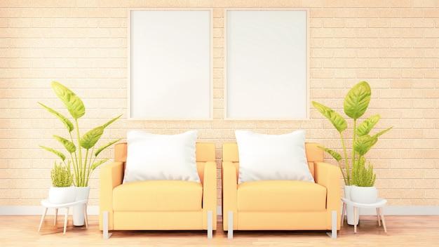 Posterframe gele bank op het interieur van de zolderkamer, bakstenen muurontwerp. 3d-rendering Premium Foto
