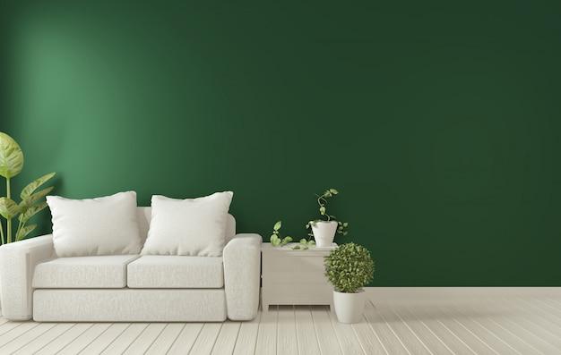 Posterframe op donkergroen woonkamerbinnenland. 3d-rendering Premium Foto