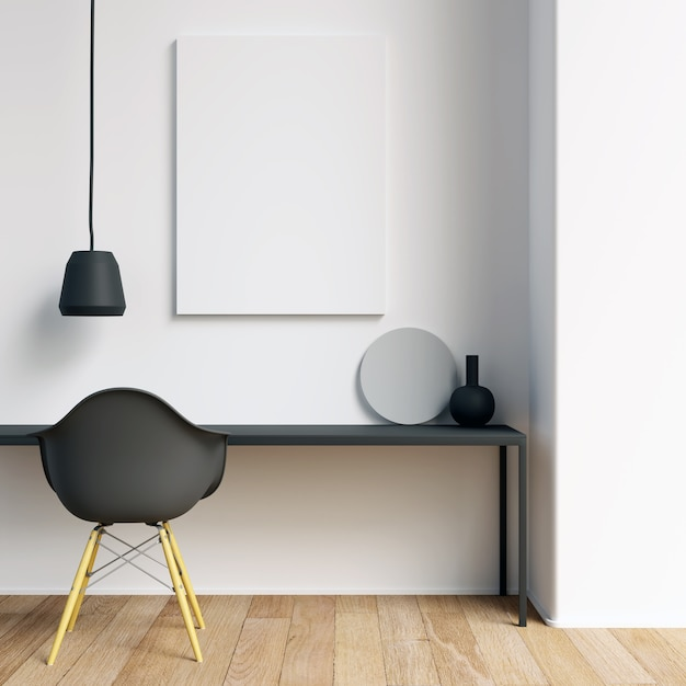 Postermodel met minimalistische decoratie Premium Foto