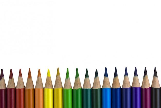 Potloden op een rij gelegd. Premium Foto