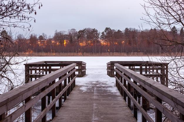 Prachtig schot van houten pad op de rivieroever en brandend bos aan de overkant Gratis Foto