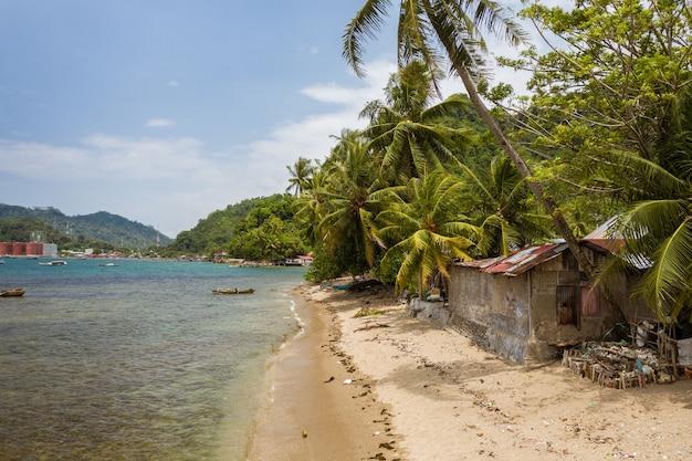 Prachtig shot van een klein huis vlakbij de kust van de zee, omringd door palmbomen in indonesië Gratis Foto