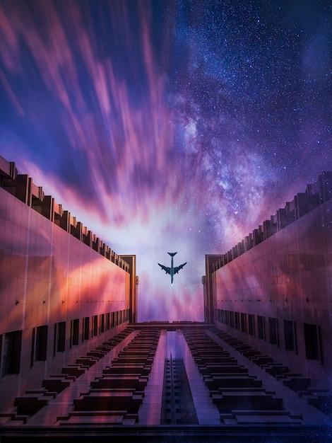 Prachtig shot van een vliegtuig dat over het gebouw gaat met een sterrenhemel op de achtergrond Gratis Foto