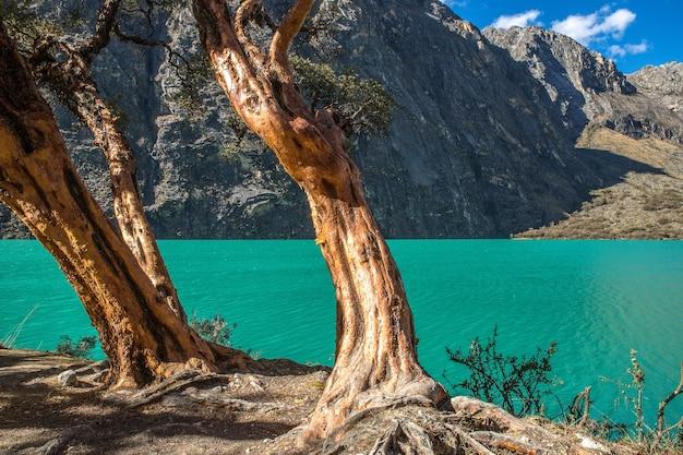 Prachtig uitzicht op de helderblauwe oceaan en de bergen in peru Gratis Foto