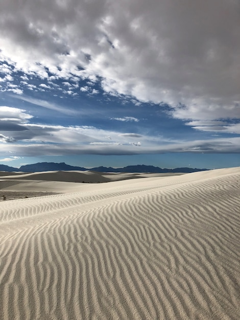 Prachtig uitzicht op de woestijn bedekt met winderig zand in new mexico - perfect voor achtergrond Gratis Foto