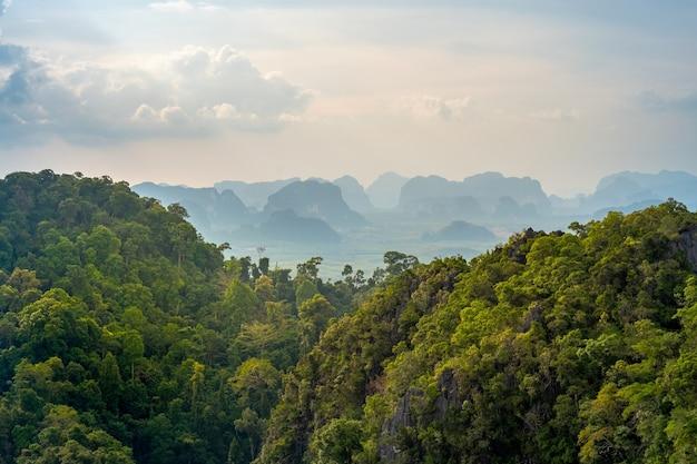 Prachtig uitzicht over de vallei en heuvels met tropische vegetatie. fantastisch thais landschap in de provincie krabi Premium Foto