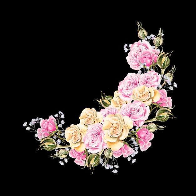Prachtige aquarel krans met bloemen en toppen van rozen. trouwkaart. Premium Foto