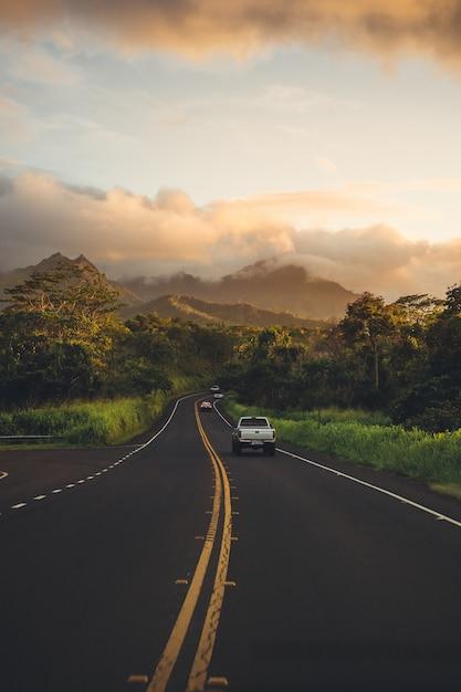 Prachtige landelijke weg groen en bossen Gratis Foto