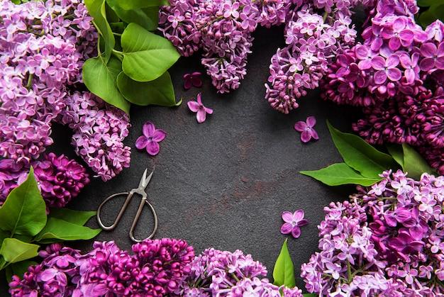 Prachtige lente bloemen lila op donkere stenen achtergrond met plaats voor tekst Premium Foto