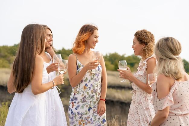 Prachtige vriendinnen hebben plezier, drinken wijn en genieten van heuvels, landschapspicknick Premium Foto