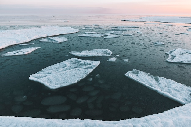 Prachtige winter zee landschap met zwevende ijs fragmenten Premium Foto