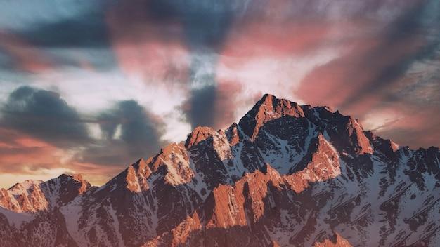 Prachtige zonsondergang in de bergen Premium Foto
