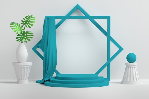 Presentatiepodium met lege lege ruimte en bloemen in vaas, blauwe doek, voetstukken Premium Foto