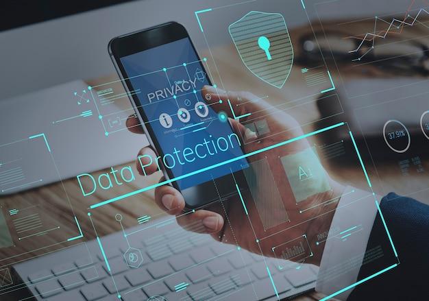 Privacybeveiligingsgegevens beschermingsschild grafisch concept Premium Foto