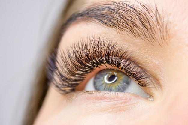 Procedure voor het verlengen van wimpers. vrouw oog met lange valse wimpers. schoonheid en mode Premium Foto