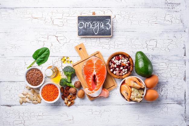 Producten bronnen van omega 3-zuren Premium Foto