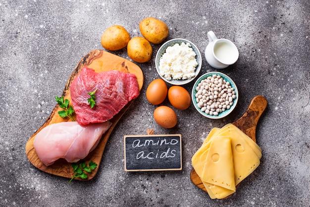 Producten rijk aan aminozuren. Premium Foto