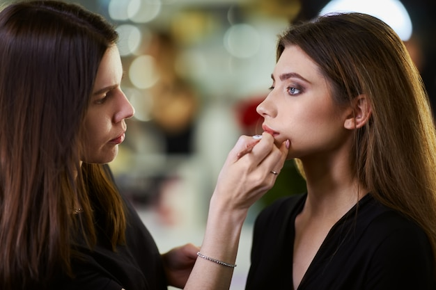 Professionele make-up artiest werken met mooie jonge vrouw. modieuze vrouw Premium Foto