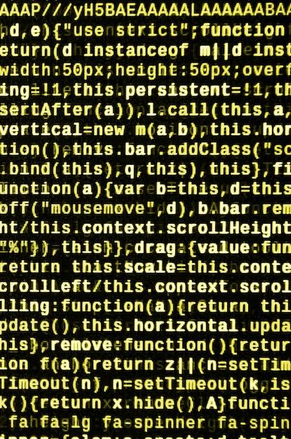 Programmeercode schrijven op laptop. digitale binaire gegevens op het computerscherm Premium Foto