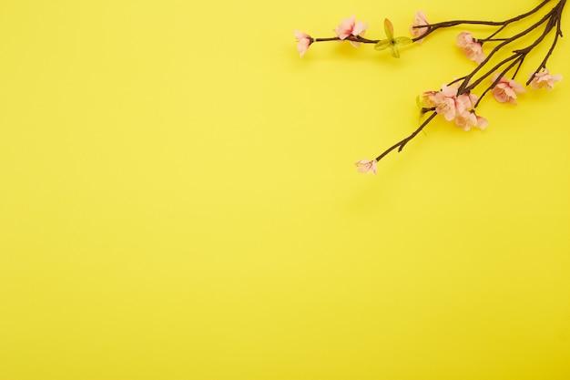 Pruimbloemen op gele achtergrond Premium Foto