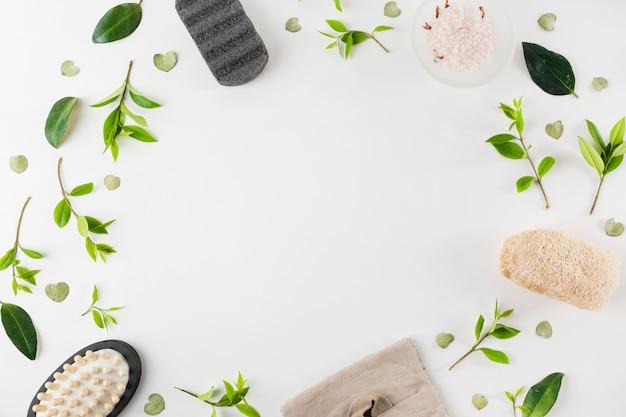Puimsteen; zout; massageborstel; natuurlijke loofah versierd met groene bladeren op een witte achtergrond Gratis Foto