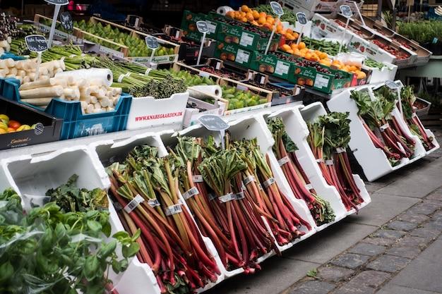 Rabarber op boerenmarkt Gratis Foto