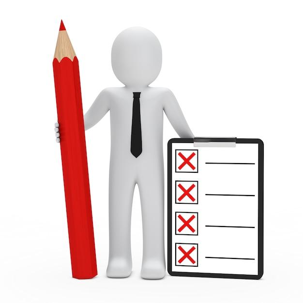 Rag pop met een rood potlood en checklist Gratis Foto