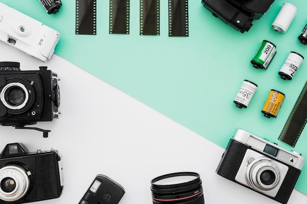 Rand van camera's en diverse films Gratis Foto