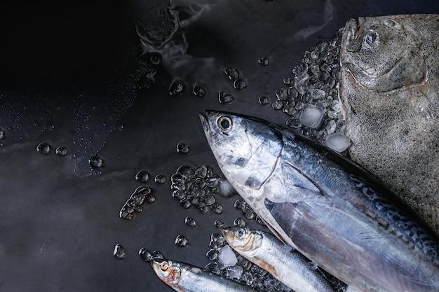 Rauwe verse tonijn, haring en botvis Premium Foto